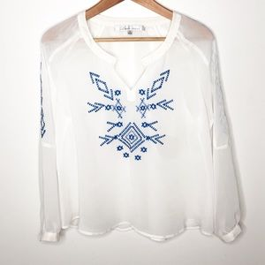 Lovers + Friends Boho Embroidered Blouse Size XS
